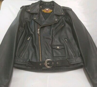 Harley Davidson Embossed Scream Eagle Black Leather Jacket Mens 40 Vintage Rare