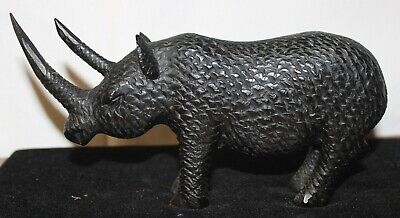Vintage African Wood Carving Animal Rino Very Nice Horns And Nice Detail