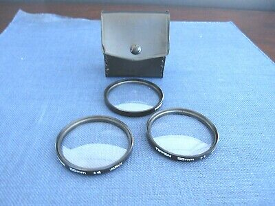 Tiffen Close Up Lens Set 55mm +1, +2, +4 with Black Case Made in Japan