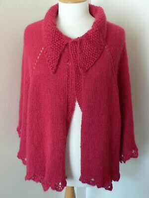 Red Handknitted Lacy Edged Cape Very Victorian / Edwardian Vintage Style