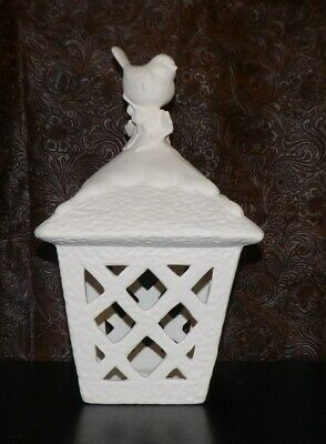 Beautiful Bird on Snow Capped Lantern Large   *Ceramic Bisque Ready to Paint