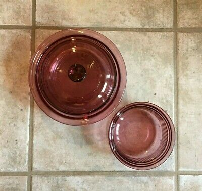 CORNING Ware Vision Cranberry Casseroles 24 oz. with Lid & 16 oz. Oven Freezer