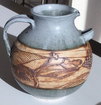 Large Jug..ewer..australian Pottery...pam Anderson.blue And Brown..heavy