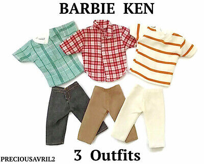 New Barbie Ken Doll outfit clothing clothes t/shirts shorts - set of 3 outfits
