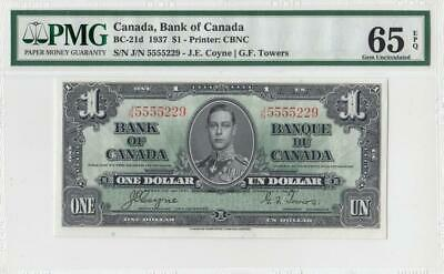 1937 BANK OF CANADA KGVI $1 **Coyne & Towers** ~Consec 1 of 2~ (( PMG 65 EPQ ))