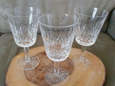 Set Of 3 Waterford Crystal Lismore Wine Glasses Red White Water