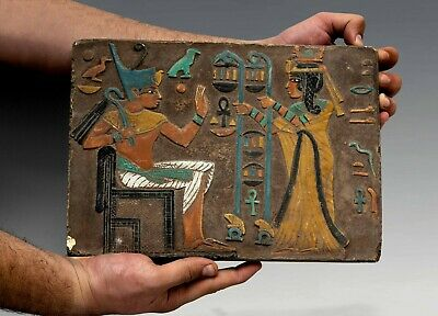 EGYPT EGYPTIAN ANTIQUES Wall STELA RELIEF TUTANKHAMEN and Wife limstone,1342 BC