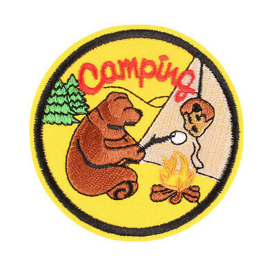 """Camping with Bear Embroidered Iron ON Patch for Clothes Arm Badge DIY 2.8"""""""