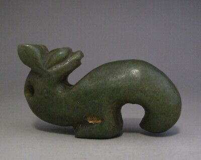 Ancient Chinese Hongshan natural Jade Hand Carved Dragon Figurine Pendant