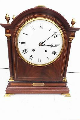 antique bracket clock rare striking movement in superb case and convex dial.