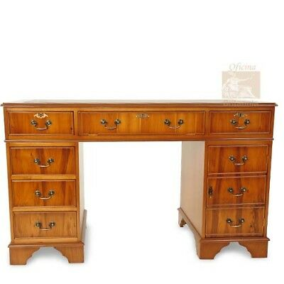 Brand New! 4' x 2' Yew Leather Top Pedestal Desk!