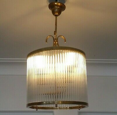 Vintage Art Deco Brass & Glass Rod Ceiling Fixture Hanging Chandelier Light Lamp