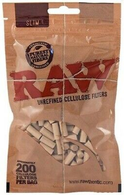 RAW SLIM UNREFINED CELLULOSE FILTERS TIPS SEALED POUCH RESEALABLE PACK 200pcs