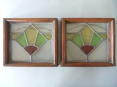 2 Art Deco Leaded Stained Glass Window Panels - Green Yellow Red Clear