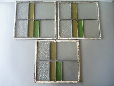 3 Art Deco Leaded Stained Glass Window Panels - Green Yellow Clear