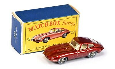 MATCHBOX REGULAR WHEELS 32b JAGUAR E Type Metallic Rot by Lesney / Vintage BOX