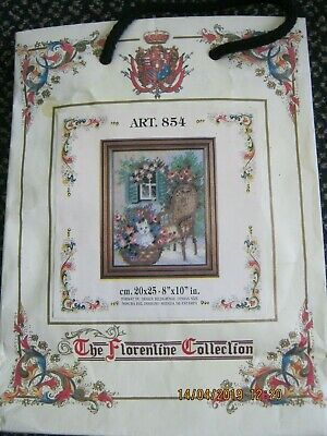 CAT CHAIR GARDEN SMALL TAPESTRY KIT WOOLS PRE PRINT CANVAS needle instructions