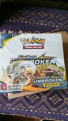 Brand New Sealed Pokemon Unbroken Bonds Booster Box 36 Packs Sun and Moon TCG