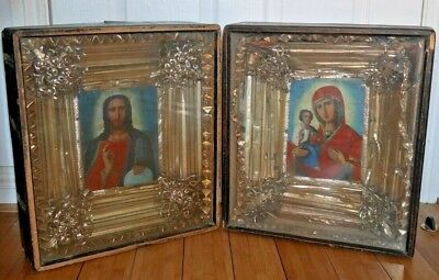 2 Antique 19th C. Russian Icons Jesus & Mary Wooden Box Framed * Rare *  D089