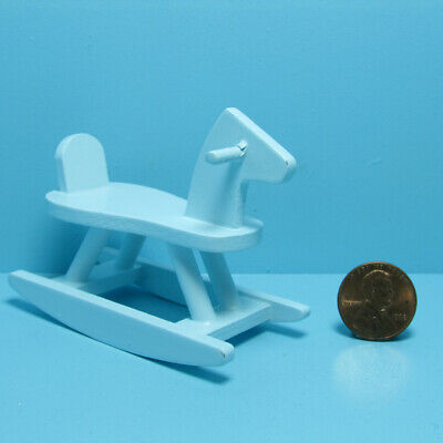 Dollhouse Miniature Wood Rocking Horse in Blue for Nursery or Bedroom T5891