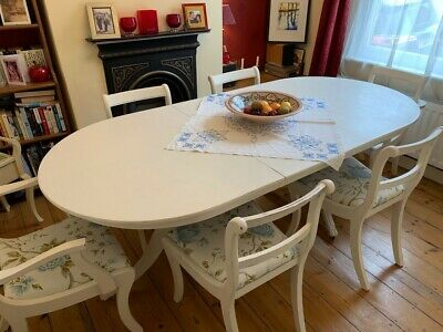 Shabby chic large French Style table with six chairs in Annie Sloan white