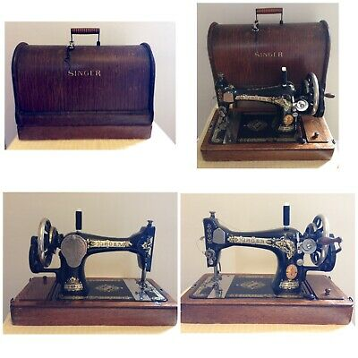 Antique Singer Sewing Machine, Case & Key, Fully Working, RARE F7523761 Beauty
