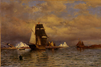 William Bradford - Looking out of Battle Harbor Giclee Print Repro on Canvas