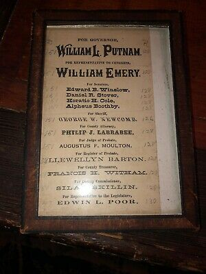 1800s  Election Ballot Maine Governors William L. Putnam
