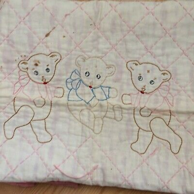 Antique vtg baby crib quilt hand quilted embroidered bears ivory pink 52x34""