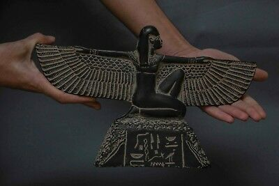 ANCIENT EGYPTIAN ANTIQUES GODDESS Winged ISIS EGYPT STATUE BLACK Stone 1085 BC