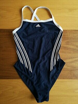 Girls Adidas One Piece Swimsuit Front Stripes Lined Navy Blue  Uk 30/32""