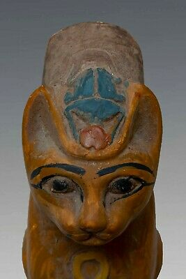 Rare ANCIENT EGYPT BASTED Ubasti Goddess EGYPTIAN CAT Pharaoh, STATUE STONE- BC