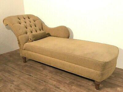 Fabulous vintage Sarah Brown upholstered antique chaise longue sofa daybed couch