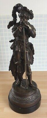 VINTAGE SPELTER/BRONZE? SCULPTURE: Soldier/Musketeer leaning on staff, 36cm tall