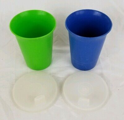 Vintage Tupperware 2 Bell Tumblers Cups + 2 Sipper Sippy Seals Lids Blue Green