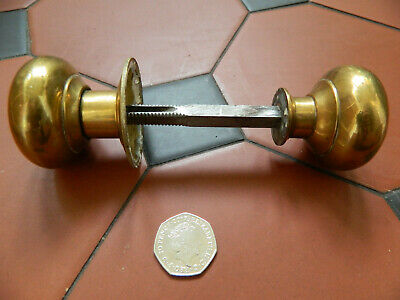 Antique Vintage Brass Door Handles Victorian Edwardian Very Nice Pair