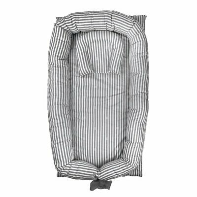 Abreeze Baby Bassinet For Bed -Grey Striped Baby Lounger - Breathable  Hypoalle