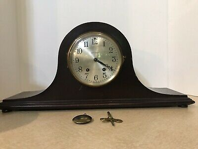Seth Thomas Vintage Mantle Clock Wood With Brass Key Untested Parts Repair