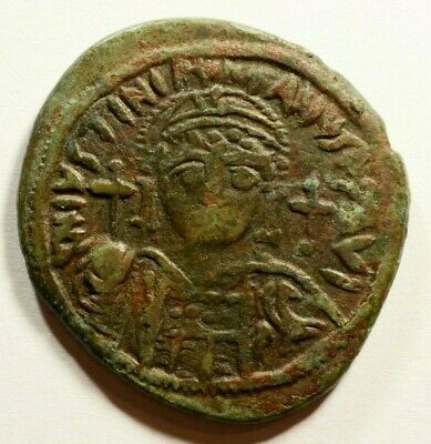 """35mm! Justinian I 527-565AD AE Follis Large """"M"""" - Ancient Byzantine Coin"""