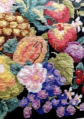 VTG NEEDLEPOINT Framed Picture Still Life Stunning Colors Fruit Wow