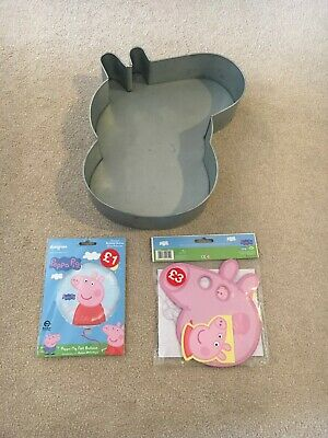 Peppa Pig George Pig Shaped Cake Tin with BRAND NEW Peppa Pig Party Items