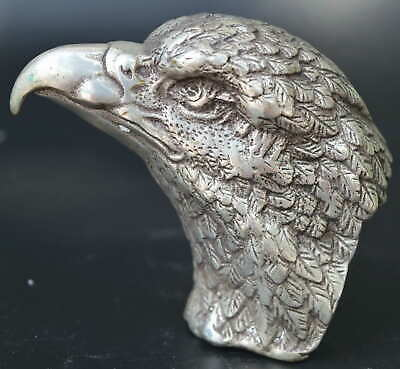 AAA Decorate Tibet Silver Fierce No Body Eagle Head Statue Noble China Artwork