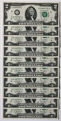 $ Uncirculated Two Dollar Bill 2013 St. Louis, $2 Sequential Notes, Lot of 10 $