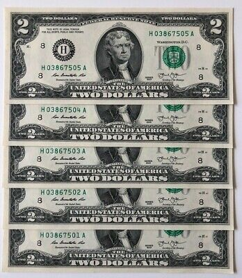 $ Uncirculated Two Dollar Bill 2013 St. Louis, $2 Sequential Notes, Lot of 5 $