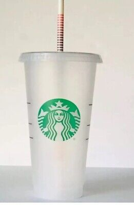 Starbucks Reusable Plastic Venti Cold Cup Clear Frosted 24oz + 1 Rainbow Straw