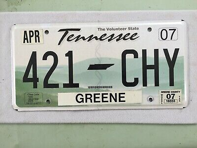 2007 Tennessee The Volunteer State License Plate Green County 421-Chy Nice Cond