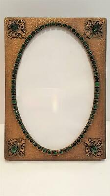 Antique Green Jeweled Picture Frame w/ Glass  Vanity Table Desk Frame