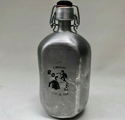 Vintage French Aluminium Canteen Water Bottle With Illustration Made By Roc
