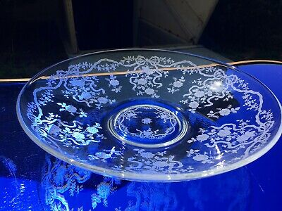 "Fostoria Romance 12.75"" Large Fruit Bowl Etching #341 Elegant Depression Glass"