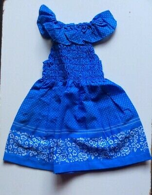 Vintage Retro Authentic 60's/70's Kids Clothes Age 4 Years Dress New Blue